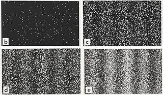 Ensemble de quatre images montrant la formation progressive d'une figure d'interférence